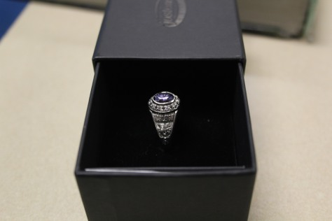 A left side of sophomore Harleigh Lang's class ring.