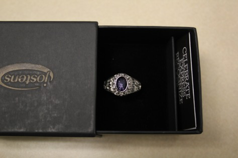 A overhead over of sophomore Harleigh Lang's class ring.