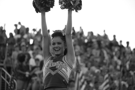 Senior Blayne Miles leads a cheer at the Providence vs FC game on Friday. Photo by Noble Guyon.