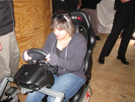 Sophomore Bessmah Elashawah takes the texting and drving simulator test. Photo by Rachel Lamb