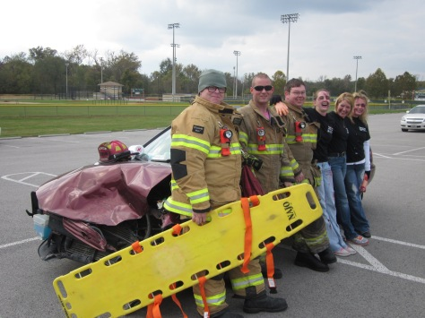 Fireman from Greenville Fire Department demonstrate how they would take care of car crash victims. Photo by Rachel Lamb