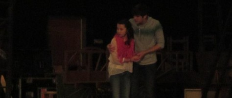 Jackson and junior Madeline Coffey at rehearsal for Les Miserables. Photo by Rachel Lamb