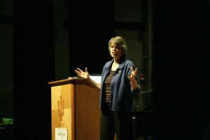 Mary Beth Tinker speaks about the First Amendment and the Tinker v. Des Moines Supreme Court case at the Indiana University Southeast Ogle Center Wednesday night. Tinker's speech was part of the Tinker Tour, sponsored by the Student Press Law Center. Photo by Noble Guyon.
