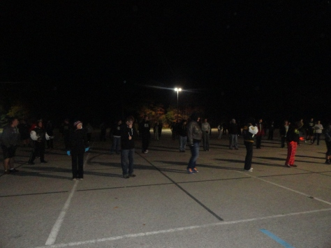 4:37 a.m. FC marching band does a run through of the show before leaving to Indianapolis.