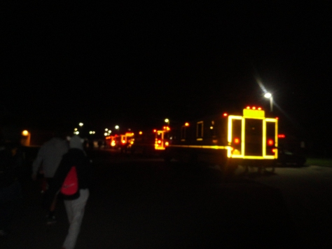 4:41 a.m. Getting on the buses before they depart for Indianapolis at 5 o' clock.
