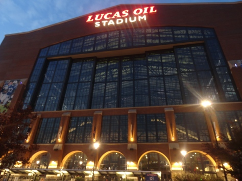 7:46 a.m. After a two hour drive FC marching band arrives at the Lucas Oil Stadium in Indianapolis.