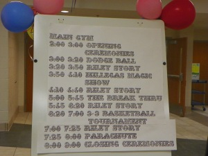 Schedules are posted throughout the performing arts area to let everyone know what will happen throughout the day. Photo by Jonathan Blaylock.
