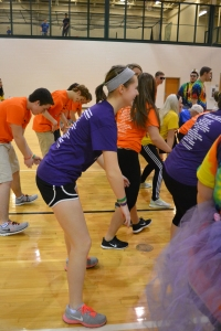 """Junior Erin Patterson does the """"wobble"""" along with other students. Photo by Meghan Poff."""