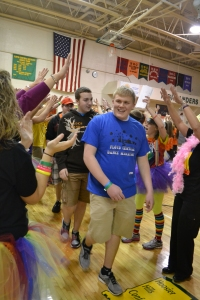Senior Lane Mehling enters the gym along with other FCDM participants. Photo by Meghan Poff.