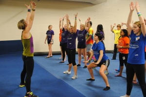Zumba instructor Marcee LaHue directs FCDM participants. Photo by Amber Bartley.
