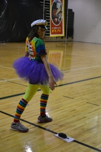 Dance Marathon coordinator Anne Martin practices the morale dance before the opening ceremony. Photo by Meghan Poff.