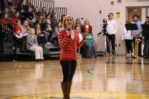 Radiothon and Dance Marathon Coordinator Chelsea Backus talks about the importance of Dance Marathon during the Jan. 31 pep-rally.