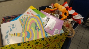The donated books are put into boxes before being taken to Green Valley Elementary.