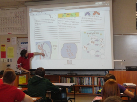 Science teacher Ron Goforth teaches his fith period class on genetics.
