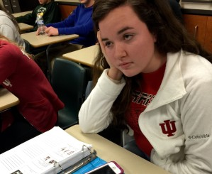 Senior Emily Exline zones out during an AP psychology lecture.