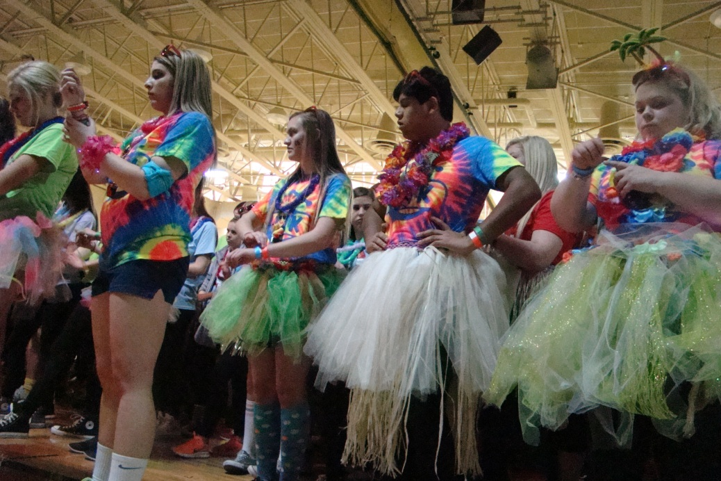 Students gather in the main gym as the event begins. Photo by Natalie Allen.