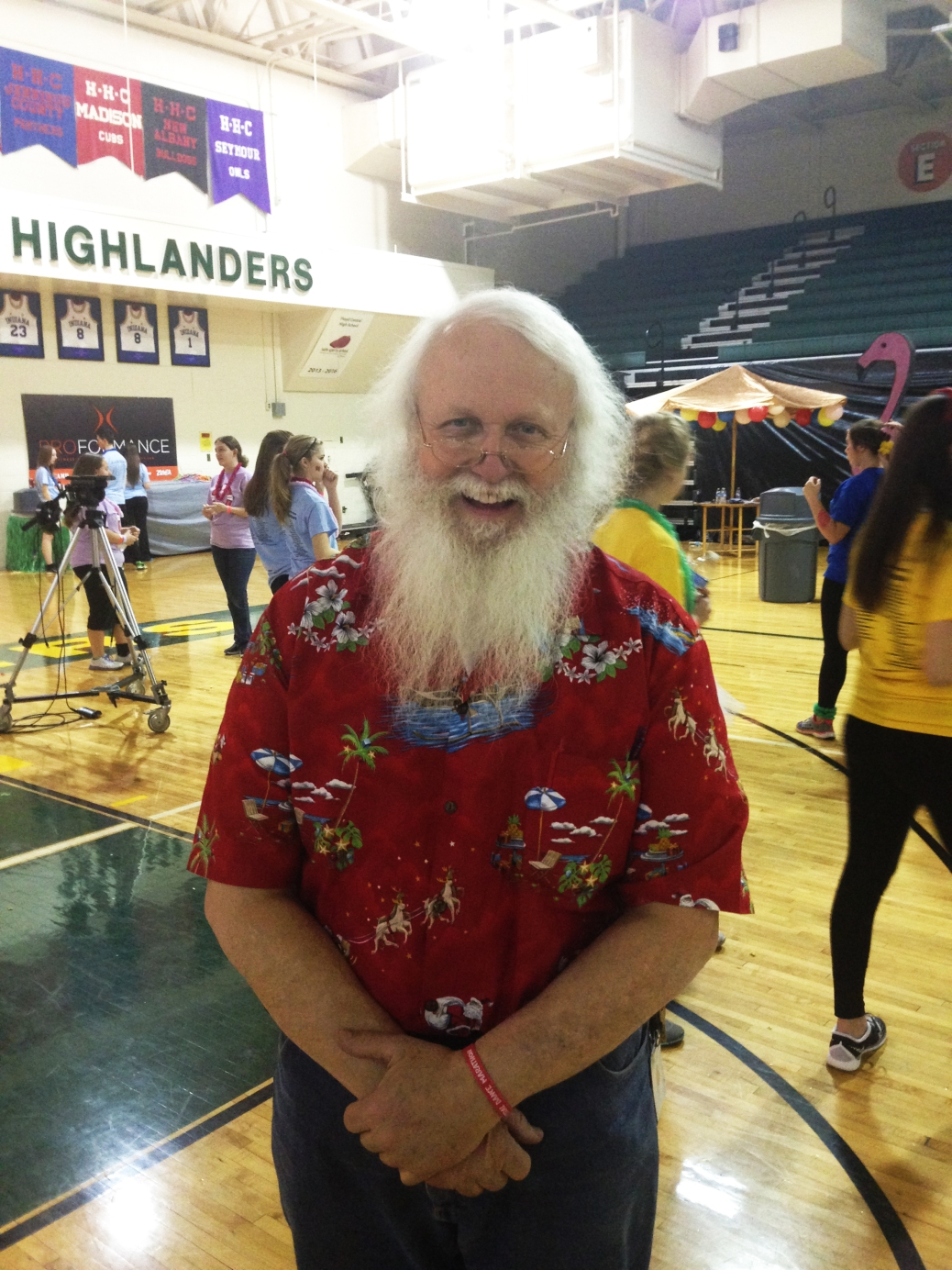 Career info teacher Delbert Hillegas roams the gym after his magic show during Dance Marathon. Photo by Garland Noel.
