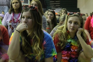 Juniors Paige Muntz and Mikayla Koch listen to a Riley story. Photo by Alaina King.