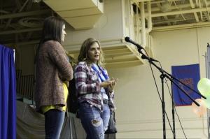 Keri and Olivia Benge speak about their daughter, Mia at Dance Marathon. Photo by Alaina King.