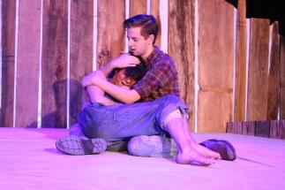 Senior Ryan Bickett comforts senior Josh Solomon as he realizes his mother is dead.