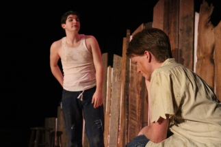 "Junior Joel Jackson yells at sophomore Gage Griffin about the girl he likes. ""I really liked watching people grow from what they were at the beginning of the process to what they were the tech week of show. It was nice to see a lot of transformation also getting to know some people better than I had before. I knew a lot of people who acted like my character,"" said Jackson."