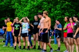 Students gather to prepare for the three-legged race.