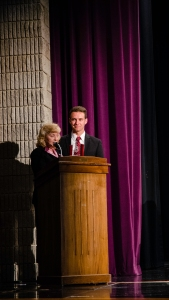Principal Janie Whaley and senior Grant Vellinger stand at the podium after Vellinger was recognized as Mr. Floyd Central for the class of 2015. Photo by Robert Wormley.