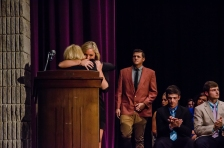 Senior Morgan Stanley hugs Jackie Brannon after being announced as one of the winners of the Chase Brannon Memorial Scholarship.