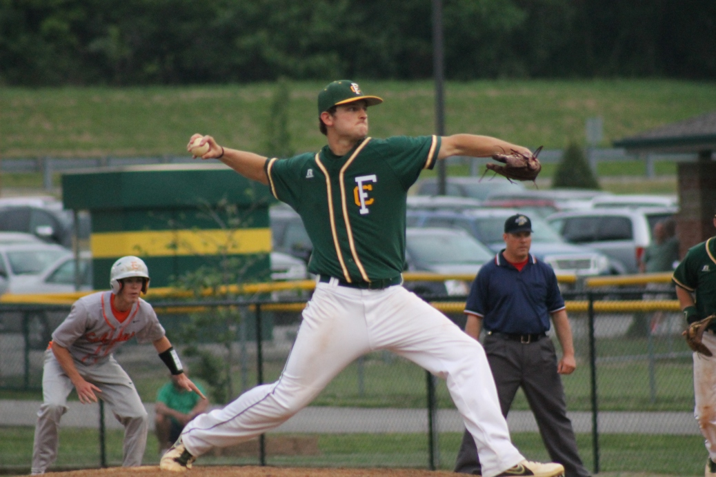 Senior Kyle Beach pitches the game against Columbus East beating them 8-6 on Friday, May 15.