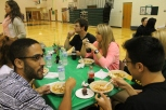 Seniors Chris Knight, Drake Andrews, Kyle Beach, and Emilie Rutledge enjoy senior lunch.