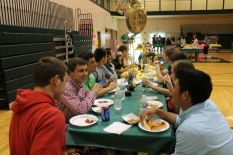 Seniors Tyler Menne, Matthew Siebert, and Charlie Loveall enjoy pizza day.