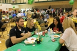 English teacher Matthew Townsand, English teacher Ashley Faith, Psychology teacher Katrina Uhl, and English teacher Tiffany Stansbury take advantage of their invitation to join senior lunch.