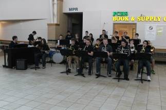 The jazz band begins their first song during their morning concert in the spine. Photos by Alaina King.