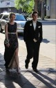Senior Awbrey McWhorter and her date, Kyle Stefanick walk to the Convention Center.