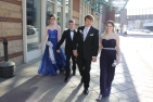 Juniors Aron Hamilton, Brandon Hill, Stevie Walker, and Jenna Jacobs arrive to the Convention Center together. Photo by Alaina King.