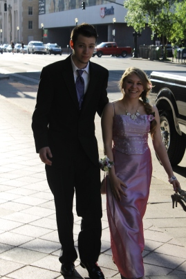 Juniors Randy Christensen and Tabatha Wilson walk to prom.