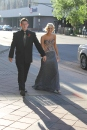 Brad Koerner and senior Madison Hayes arrive at the Convention Center. Photo by Alaina King.