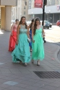 Juniors Courtney Engle and Emily Keenan walk with their group to prom. Photo by Alaina King.