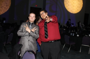 Seniors Jesse Moberly and Isaiah Coffey pose for a picture while taking a break from dancing. Photo by Alaina King.