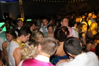 Students finish dancing to a song before prom king and queen are announced. Photo by Alaina King.