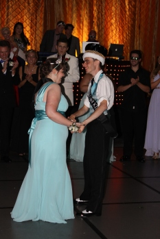 Seniors Amber Caswell and Jamie Lamon share their first dance as prom king and queen. Photo by Alaina King.