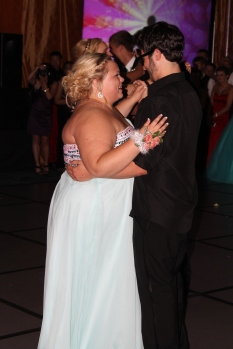 Senior Mary Hayes and Jared Saylor share a dance together after prom king and queen was announced. Photo by Alaina King.