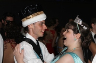 Seniors Jamie Lamon and Amber Caswell enjoy their dance together as prom king and queen. Photo by Alaina King.