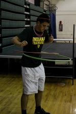Senior Parker Bussabarger-Davidenkof hula hoops in the gym. Photo by Alaina King.
