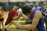 Senior Tanner Nifong and junior Max Hauser arm wrestle. Photo by Braden Schroeder.