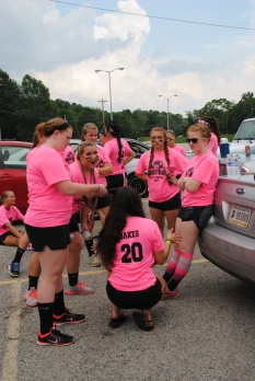 Seniors gather in the parking lot before the game begins. Photo by Amber Bartley.