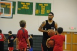 Siva plays against campers following snack time.