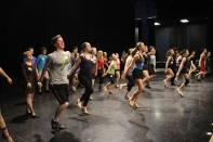 FC students practice before giving their auditions for the upcoming tap show 42nd Street. Photo by Jenny North.