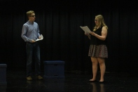 Freshman Noah Hankins and sophomore Vivian Bulleit read their lines in Studio One for auditions Wednesday August 5th. Photo by Jenny North.