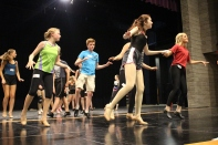 Freshmen Sarah Seay and Elizabeth Hallal, junior Gage Griffin, and freshman Stevie Griffin run through the tap number for the 42nd Street audition. Photo by Jenny North.